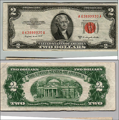 1953B $2 Dollar Bill Old Us Note Legal Tender Paper Money Currency Red Seal Q643