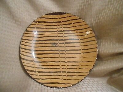 Wisconsin Pottery Redware Dish Yellow Slip Deep Heart Waves On Brown Back 10 3/4