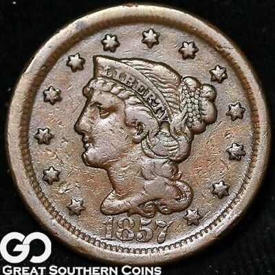 1857 Large Cent, Braided Hair, Choice XF Better Date Copper