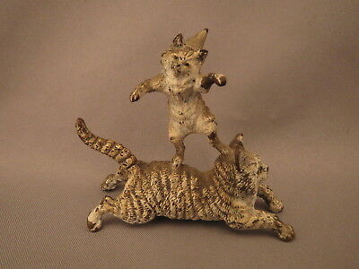 Vintage Vienna Bronze Kitten with clown hat riding on a large cat