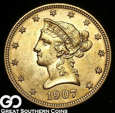 1907 Gold Eagle, $10 Gold Liberty, Nice Mint Luster ** Free Shipping!