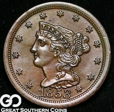 1853 Half Cent, Braided Hair, Sharp Gem BU++ Copper ** Free Shipping!