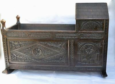 Antique Charming Carved Oak Baby Rocking Cradle Crib with hood 17/18th century