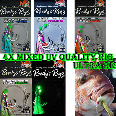 10 Snapper Rigs Xmas Gift Pack Mixed Colors Hook Size Pre Made Lure Rigs