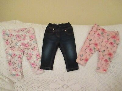 Baby Girl 6-9months Next Soft Denim Jeans + 2 Pairs Floral Jeggings
