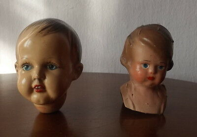 2 pieces baby head very old
