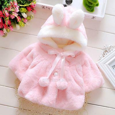 Newborn Baby Girls Winter Cute Warm Thick Fleece Hooded Coat Outerwear Jacket