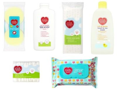 Box of Baby Products Shampoo Lotion Talc Bath Sponge Towel Comforter Wipes
