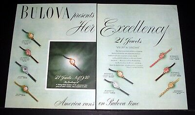 1947 Old Magazine Print Ad, Bulova, Presents Her Excellency Watches, Exquisite!