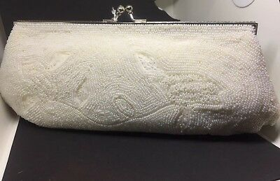 Vintage White Hand Beaded Wedding Clutch