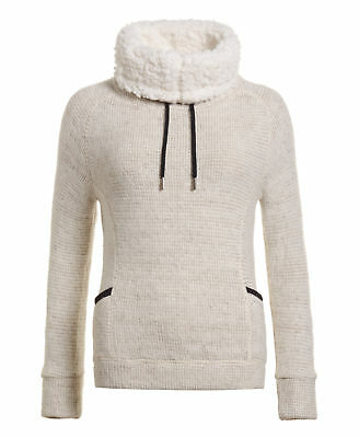 New Womens Superdry Factory Second Cosy Borg Funnel Knit Grey Marl