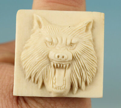 Cool Chinese Not Plastic Collection Handmade Carved Wolf Statue Ring