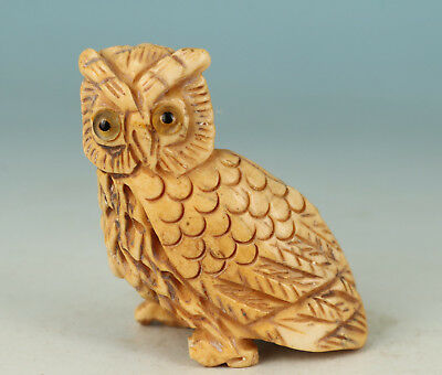 Lovely Chinese Old Not Plastic Collection Handmade Carved Owl Statue