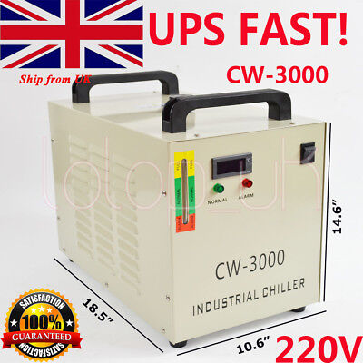 CW-3000AG Industry Air Water Chiller CO2 Laser Engraving Cutting Machine 220V UK