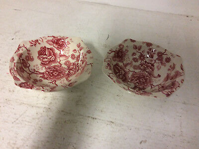 Johnson Bros English Chippendale Flower Patterned Bowl x 2 USED