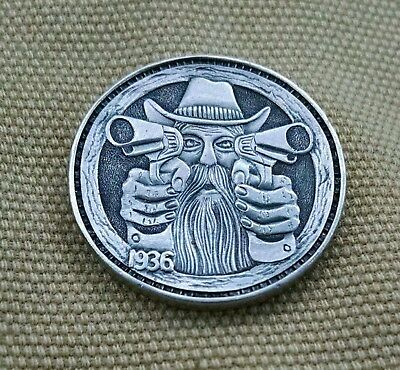 Hand carved HOBO NICKEL Man With Guns by Shane Hunter Hoboshane Coin