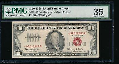 AC 1966 $100 Legal Tender STAR NOTE PMG 35 comment Fr 1550*