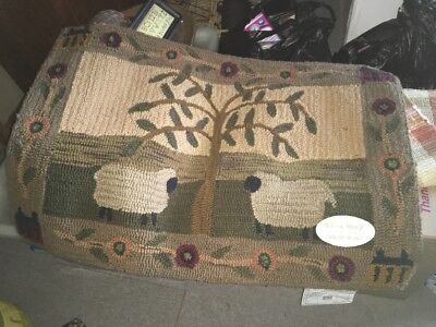 primitive hooked rug sheep