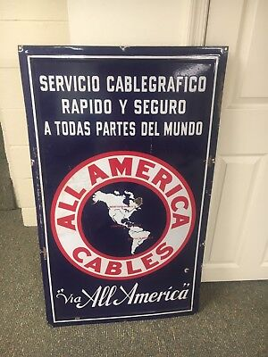 All America Cables sign Telegraph Sign Porcelain Sign  Only One Known.