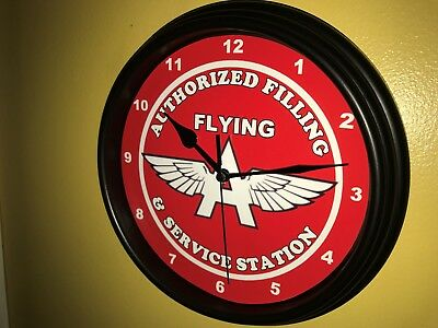 Flying A Tydol Oil Gas Service Station Mechanic Garage Man Cave Wall Clock Sign