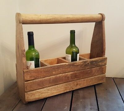 Vintage Retro Hardwood 4 Bottle Wine Rack Caddy holder with Handle Wooden