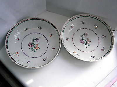 Pair Antique Chinese Famille Rose porcelain saucers flowers C1790