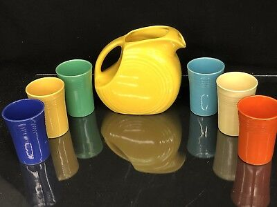 Vintage Fiestaware Yellow Juice Pitcher Set with Original 6 Colored Tumblers