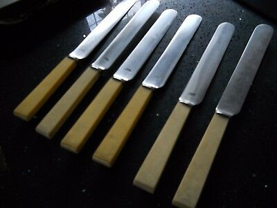 Vintage cutlery 6 faux bone handle Dinner knives 26cm long  LEE & WIGFULL Ltd