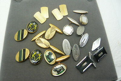 Vintage Mixed Lot Collection Of Mens Chain Link Cufflinks Inc Enamel Picture