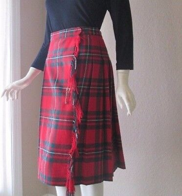 Fine Wool Red Scottish Tartan Kilt Custom Made Authentic Ladies Or Teens