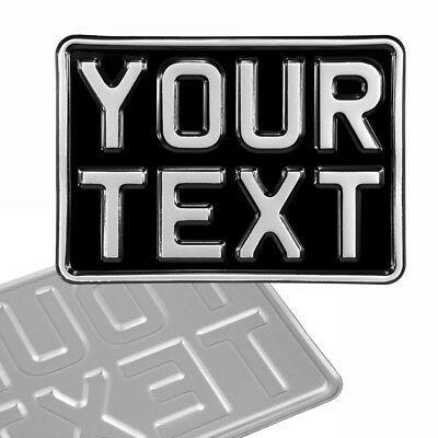 7x5 black and silver Kids pressed number plate text motorcycle metal aluminium