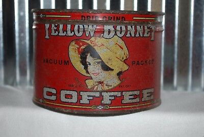 VINTAGE YELLOW BONNET COFFEE TIN CAN 1lb SPRINGFIELD GROCERY ADVERTISING + LID