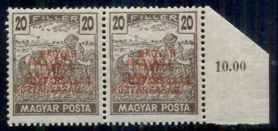 HUNGARY #210, 20f brown with striking DOUBLE RED OVERPRINT, og, NH pair