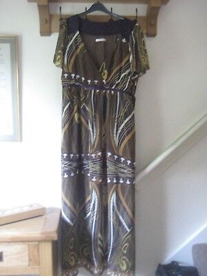 Beautiful Art Deco Designed Full Length Dress by George Ribbon Tie Backs Size 20