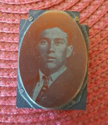 Vintage Newspaper Printing Block Stamp- Portrait of a Young Man Bust Suit Famous