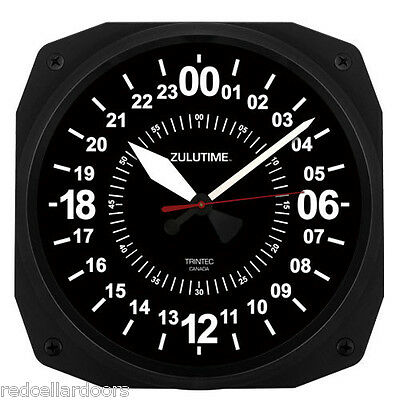 "New TRINTEC 24 Hour Clock 10"" BLACK Military ZULU Time  Instrument Clock 24-hr10"