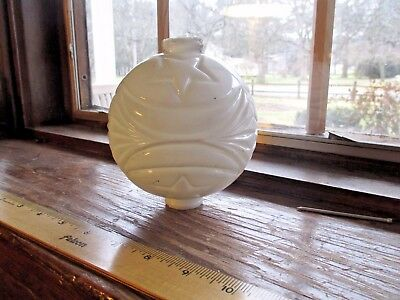 Vintage Lightning Rod Ball WHITE MILK GLASS Ornate MOON STARS design pattern
