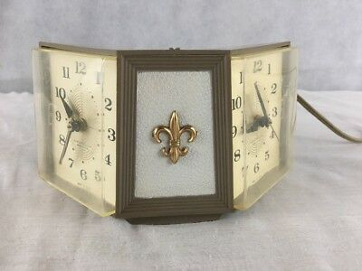 VTG Mid Century Westclox Electric His Hers Dual 2 Side Alarm Clock Fleur De Lis