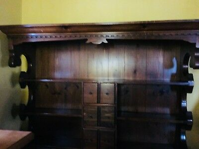 antique hutch with original hardware in good condition, dental moulding