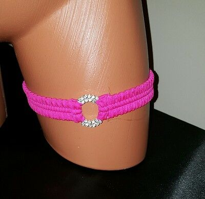 Exotic Dancer Stripper Sexy Lingerie hot pink with rhinestone ring garter