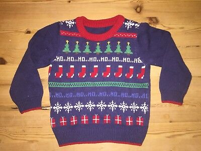 Boys Navy Christmas Jumper 12-18 Months