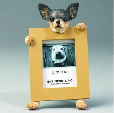 "Chihuahua Black Dog Photo Picture Frame Gift Resin 2-1/2""x3-1/2"""