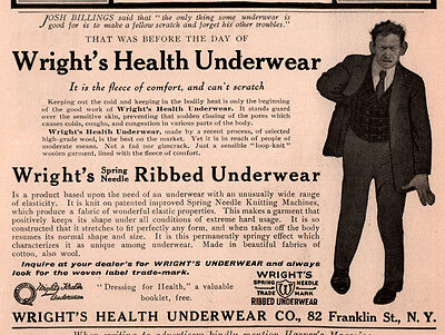 Ad Lot Of 2 1898- 1909 A Ad Wrights Health  Underwear Ribbed Josh Billings Quote
