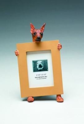 "Min Pin (Red) Dog Photo Picture Frame Gift Resin 2-1/2""x3-1/2"""