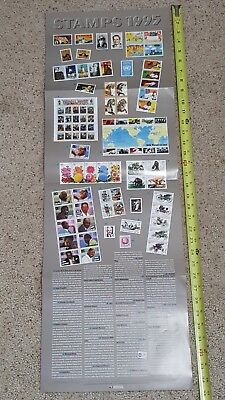"USPS Post Office Stamp Poster 1990 stamps Advertising 1990 25"" x 12"""