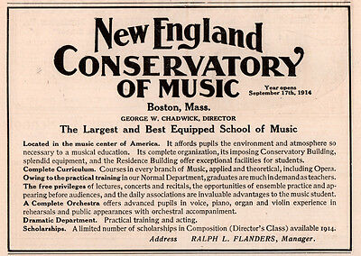 1913 Ad New England Conservatory Of Music Chadwick Flanders
