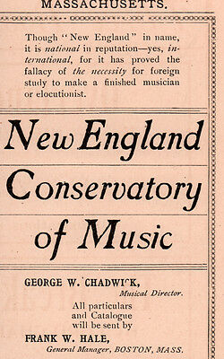 1900 Ad New England Conservatory Of Music Chadwick Hale