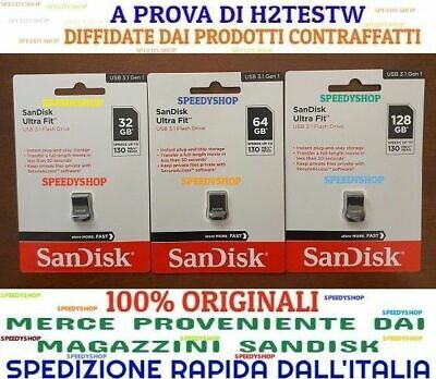 PENDRIVE ULTRA FIT USB 3.1 Sandisk 32 64 128 GB Chiavetta 130 MB/S Memoria 2020