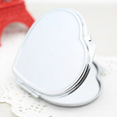 Heart Shape Compact Two-sided Make Up Mirror Cosmetic Pocket Mirror -Q