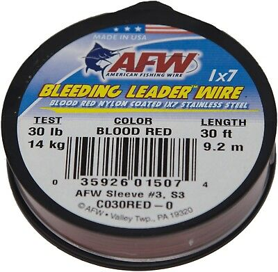 AFW American Fishing Wire Bleeding Leader Wire 1x7 Stainless Steel 30lb 30ft.
